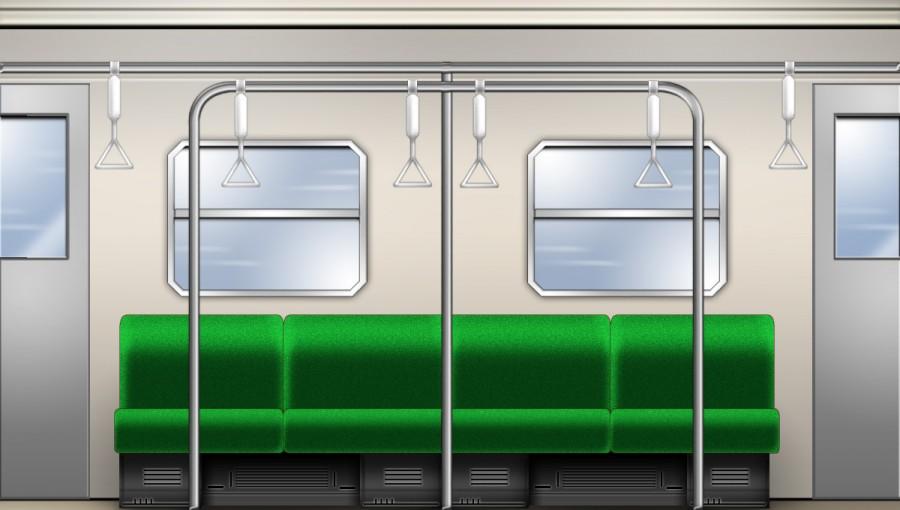 横座席電車内部